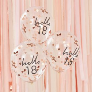 Confetti ballonnen Hello 18 rosé Mix It Up (5st) Ginger Ray