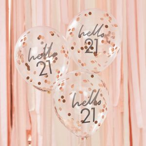 Confetti ballonnen Hello 21 rosé Mix It Up (5st) Ginger Ray