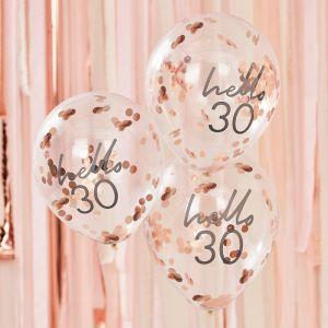 Confetti ballonnen Hello 30 rosé Mix It Up (5st) Ginger Ray