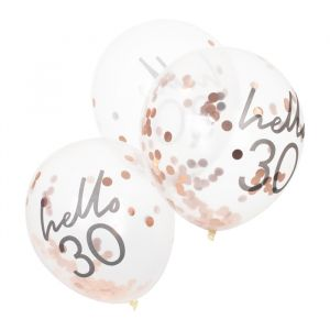 Confetti ballonnen Hello 30 rosé Mix It Up (5st) Ginger Ray