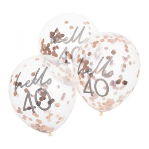 Confetti ballonnen Hello 40 rosé Mix It Up (5st) Ginger Ray