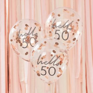Confetti ballonnen Hello 50 rosé Mix It Up (5st) Ginger Ray