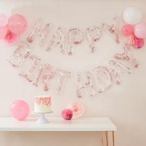 Slinger confetti folieballonnen Happy Birthday Ginger Ray