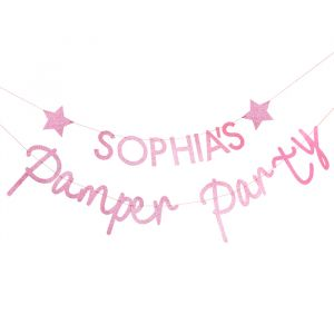 Slinger met naam roze glitter Pamper Party Ginger Ray