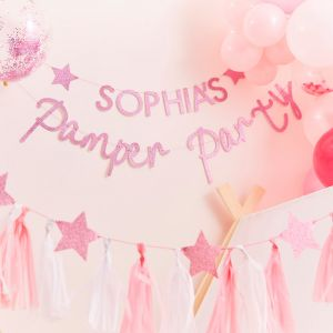 Slinger met naam roze glitter Pamper Party Ginger Ray