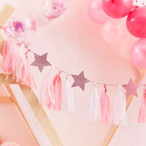 Tasselslinger met roze sterren Pamper Party Ginger Ray