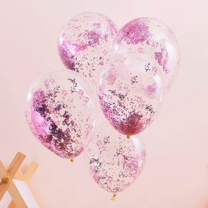 Ballonnen glitter roze Pamper Party (5st) Ginger Ray