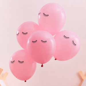 Ballonnen Sleepy Eye roze Pamper Party (5st) Ginger Ray