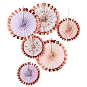 Paperfans rosé Floral (6st) Let's Partea Ginger Ray
