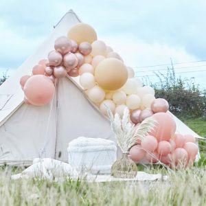 Ballonnenboog groot chrome roségoud & nude Ginger Ray