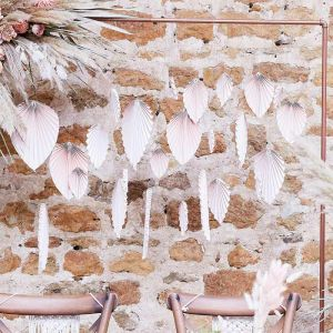 Backdrop Palm Leaf Fans blush A Touch of Pampas Ginger Ray