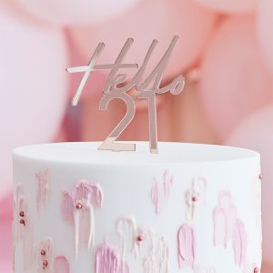 Taarttoper Hello 21 Pink & Rose Gold Ginger Ray