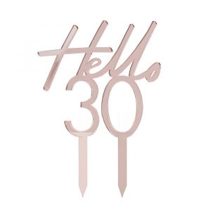 Taarttoper Hello 30 Pink & Rose Gold Ginger Ray