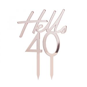 Taarttoper Hello 40 Pink & Rose Gold Ginger Ray