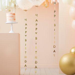 Ballonlinten Happy Birthday Peach Party (5st) Ginger Ray