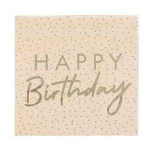 Servetten Happy Birthday Dotty Mix it Up Peach (16st)