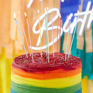 Lange taartkaarsjes Mix it Up Brights (12st) Ginger Ray