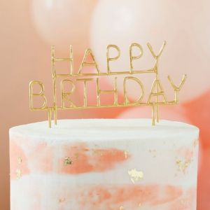 Taattopper sterretje Happy Birthday goud Ginger Ray