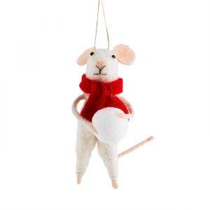 Kersthanger vilten muis sneeuwbal Sass & Belle