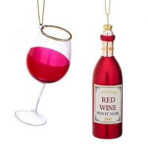 Kersthangerset rode wijn en glas Sass & Belle