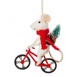 Kersthanger muis op fiets vilt Sass & Belle