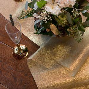 Tafelloper organza metallic goud