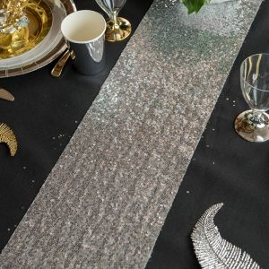 Tafelloper pailetten zilver