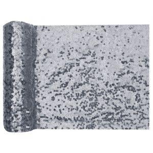 Tafelloper pailletten zilver