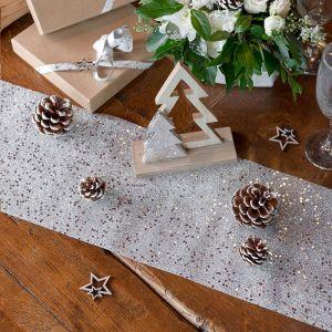 Tafelloper glitter zilver (5m)