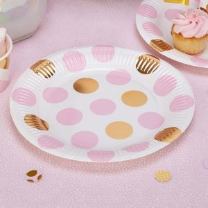 Bordjes dots roze Pattern Works Pink (8st)