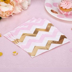 Servetten chevron Pattern Works Pink (16st)