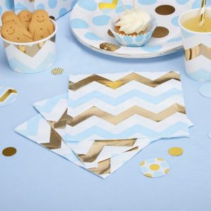 Servetten chevron Pattern Works Blue (16st)