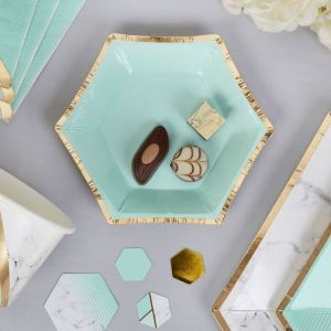 Canape bordjes (8st) Colour Block Marble Mint