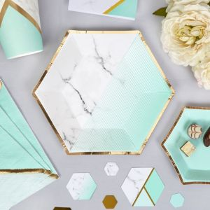 Gebaksbordjes (8st) Colour Block Marble Mint