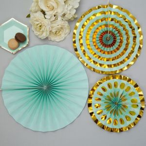 Paper fans (3st) Colour Block Marble Mint