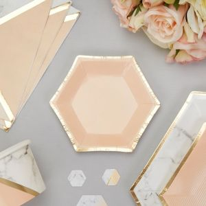 Canape bordjes (8st) Colour Block Marble Peach