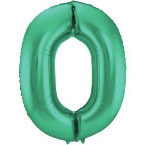 86cm Folieballon Metallic Mat Cijfer 0 Groen
