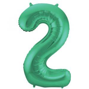 86cm Folieballon Metallic Mat Cijfer 2 Groen
