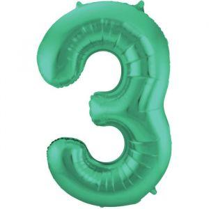 86cm Folieballon Metallic Mat Cijfer 3 Groen