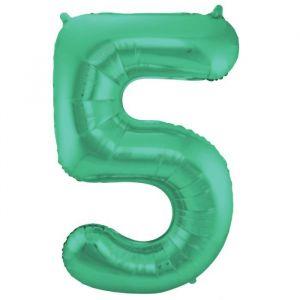 86cm Folieballon Metallic Mat Cijfer 5 Groen