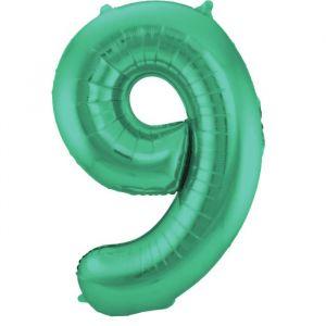 86cm Folieballon Metallic Mat Cijfer 9 Groen