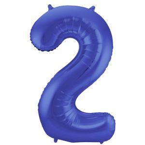 86cm Folieballon Metallic Mat Cijfer 2 Blauw