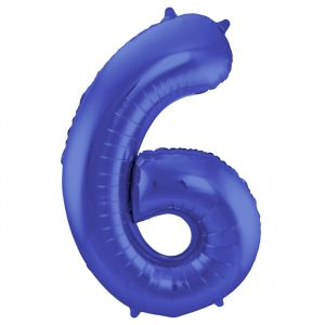 86cm Folieballon Metallic Mat Cijfer 6 Blauw