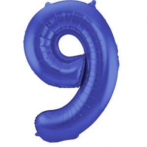 86cm Folieballon Metallic Mat Cijfer 9 Blauw