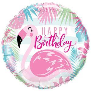 Folieballon Happy Birthday Flamingo