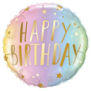 Folieballon Happy Birthday sterren ombre