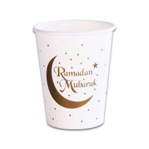 Bekertjes Ramadan Mubarak goud (8st)