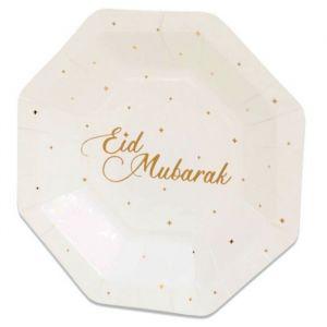 Borden Eid Mubarak stippen goud 18cm (8st)