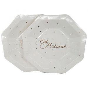 Borden Eid Mubarak stippen roségoud 18cm (8st)