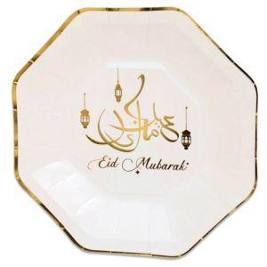 Borden groot Eid Mubarak goud 23cm (8st)